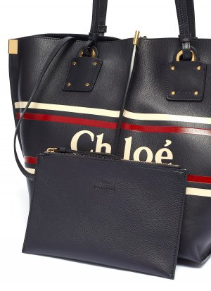 Chloé Medium Vick In Smooth Calfskin with & Stripes Tote