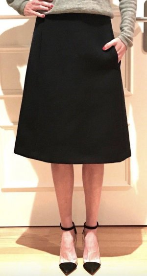Chloe Midi Rock 34 NEU Schwarz Wolle A-Linie Knielang Skirt Black Virgin Wool XS Neu