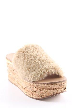 """Chloé Platform High-Heeled Sandal """"Camille Platform Mules Sand"""" beige"""