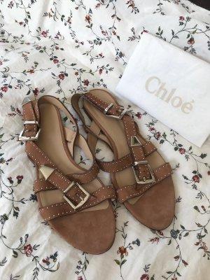 Chloé Sandalo con cinturino marrone chiaro-color cammello Scamosciato