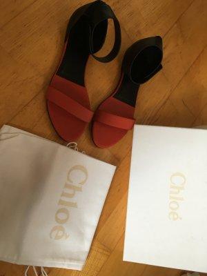 Chloé Roman Sandals black-brick red leather