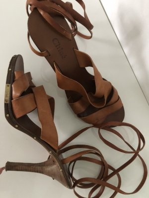Chloé Strapped High-Heeled Sandals brown-cognac-coloured