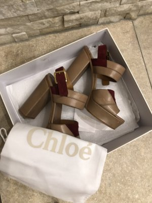 Chloé Platform Sandals beige-russet leather