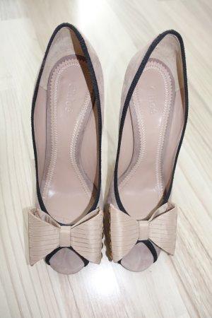 CHLOE Schuhe, Gr. 41, Peeptoe Pumps, Rauhleder, flieder