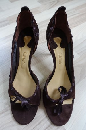 CHLOE Schuhe, Gr. 41, Sandalen, aus dunkelbraunem Rauhleder mit Schleife !