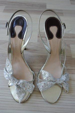 CHLOE Schuhe,Sandaletten, aus Leder in silber, mit super schöner Schleife, Gr. 40