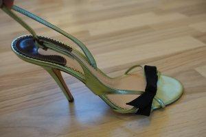 CHLOE Schuhe, Sandaletten, EUR 41, grünmetallic mit schwarzer Schleife