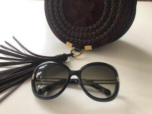 Chloé Round Sunglasses black-silver-colored