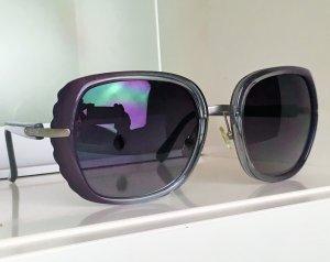 * CHLOÉ * SONNENBRILLE  Metall & Kunststoff grau violett transparent Zacken - mit ETUI