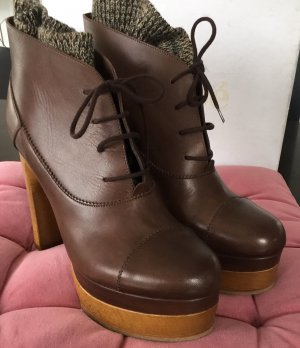 Chloé Bottines à lacets marron clair cuir