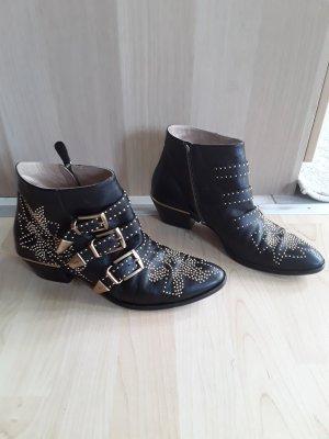 Chloé Botines slouch negro Cuero