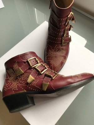 Chloé Ankle Boots bordeaux-gold-colored leather