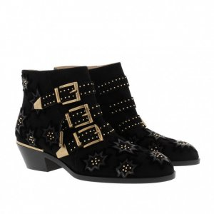 Chloe Susanna Short Boots Embroidered Velvet Black
