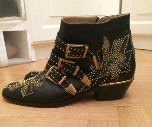 Chloe Susanna Stiefel Boots 39 schwarz gold studs einmal getragen