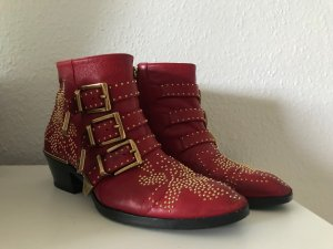Chloé Booties brick red leather