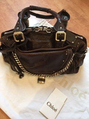 Chloè Tasche aus dunkelbraunem Leder mit goldener Hardware