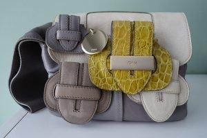 CHLOÉ Tasche, Clutchbag, aus supersoftem grauen Leder, + weiß und limettengelb !