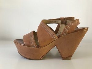 Chloé Wedge- Sandale, Gr. 40, Karamellbraun, Glattleder