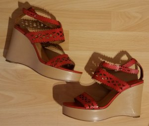 Chloé Wedge Sandals red-brick red leather