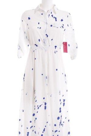 Choies Blusenkleid weiß-blau Punktemuster Street-Fashion-Look