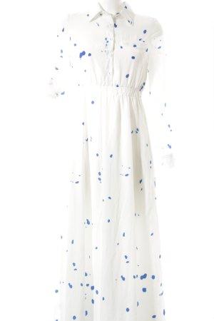 Choies Maxikleid weiß-stahlblau Farbtupfermuster Elegant