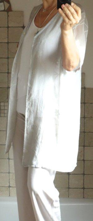 Choise Ensemble 3 Teile, Jersey Feinstrick, Longtop, Hose, Bluse, 90% Viskose,  sandfarben, hellbeige, hellgrau, offwhite, schönes, fließenes Material, Top leicht assymetrisch, Hose gerade geschnitten mit Gummizug, Bluse transparent mit dezentem Muster, z
