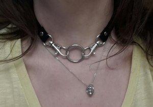 Choker O-Ring NEU Halsband Kunstleder Chokerkette Statement Grunge Punk