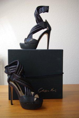 Sandalo con plateau nero Pelle