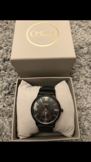 Creation Christ Watch With Leather Strap black-rose-gold-coloured