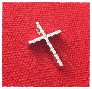 CHRIST - Weissgold Kreuz - Kettenanhänger - mit 11 Diamanten besetzt