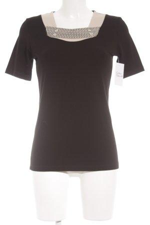 Christa Probst T-shirt noir-crème motif rayé style décontracté