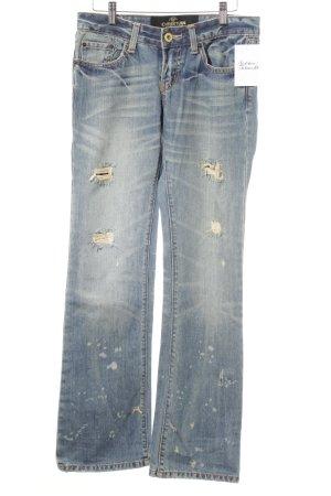 Christian Audigier Boot Cut Jeans graublau-himmelblau Motivdruck