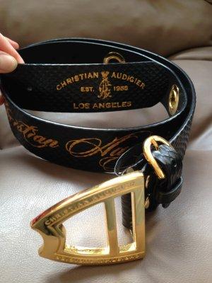 Cinturón de cadera negro-color oro Cuero