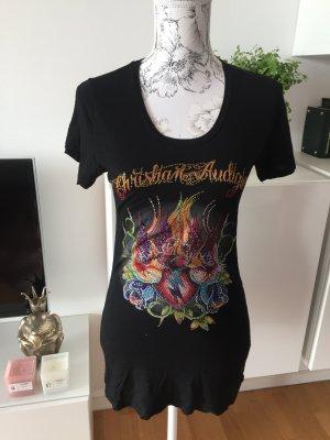Christian Audigier Shirt T-Shirt Gr M bunt schwarz swarovski Steine