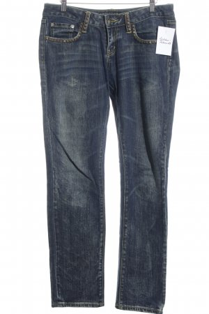 Christian Audigier Straight-Leg Jeans graublau-ocker Street-Fashion-Look