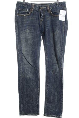 Christian Audigier Straight-Leg Jeans graublau-ocker Street-Fashion-Look