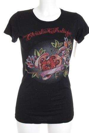 Christian Audigier T-Shirt platzierter Druck extravaganter Stil