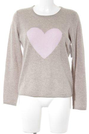 Christian Berg Crewneck Sweater grey brown-pink Herzmuster casual look