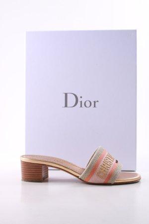 Christian Dior Heel Pantolettes pink-gold-colored printed lettering elegant