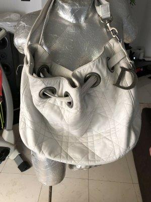 Christian Dior Cannage Stitch Schultertasche aus weißem Leder