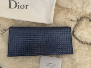 "Christian Dior Handbag In Metallic Blue Calfskin Leather ""Micro-Cannage"" Pattern"
