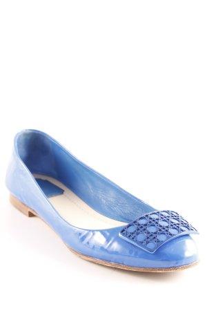 Christian Dior Lackballerinas blau-schwarz abstraktes Muster Lack-Optik