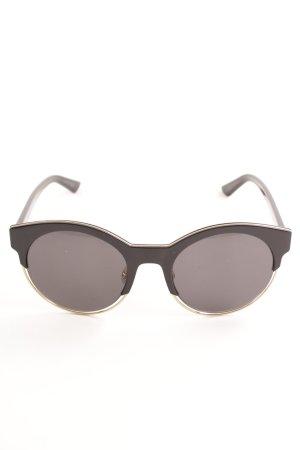 Christian Dior ovale Sonnenbrille schwarz-goldfarben Casual-Look
