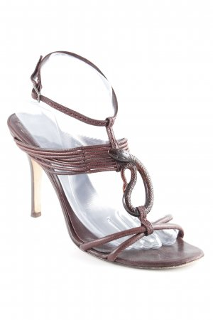 Christian Dior Strapped High-Heeled Sandals dark brown extravagant style
