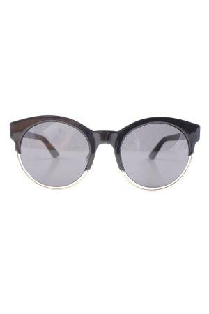 Christian Dior runde Sonnenbrille schwarz-goldfarben Elegant
