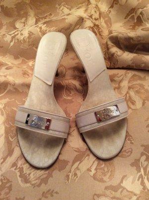 Christian Dior Heel Pantolettes white textile fiber