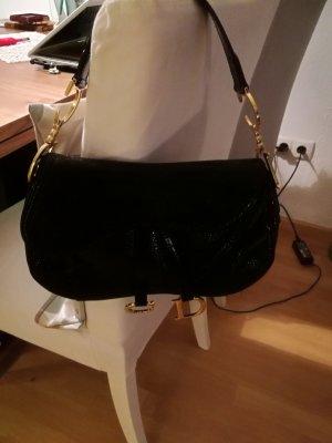 Christian Dior Tasche schwarz aus Rochenlederprägung