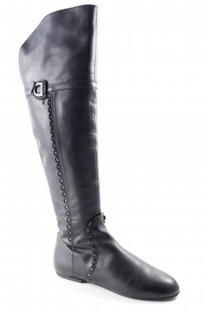 Christian Dior Wide Calf Boots black Logo application (metal)