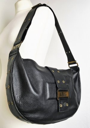 Christian Dior Sac porté épaule noir-bronze cuir