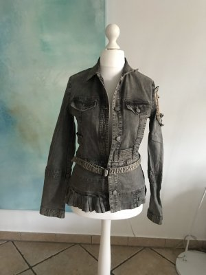 Christian Lacroix Denim Jacket anthracite-light brown